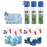 Obsah:3x čistič interiérů Interno, 500 ml (výr. č. 2000-05)3x čisticí prostředek na sklo Stries 500 ml (výr. č. 2897-340)3x čisticí prostředek na čalounění Velvet 400 ml (výr. č. 2897-307)6x utěrka zmikrovlákna modrá, 40 X 40 cm (výr. č. 2000-64